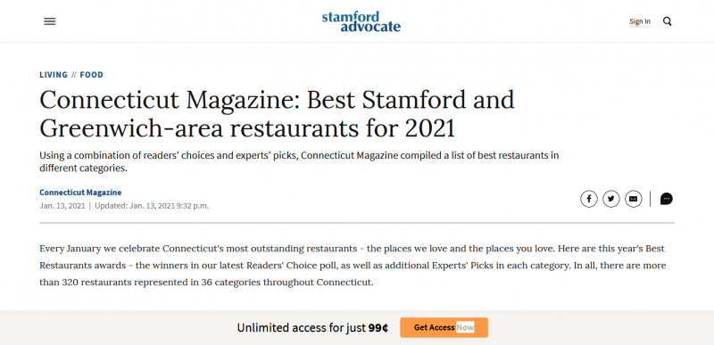 Connecticut Magazine: Best Stamford and Greenwich-area restaurants for 2021
