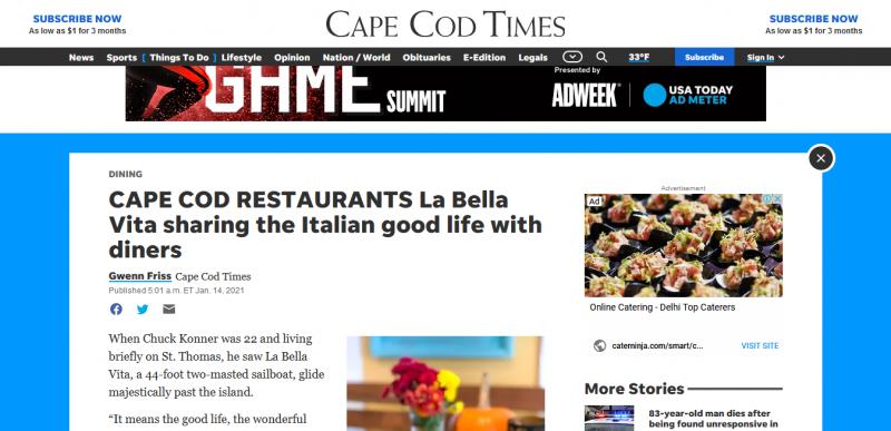 CAPE COD RESTAURANTS La Bella Vita sharing the Italian good life with diners