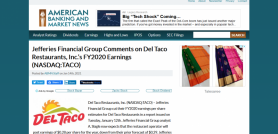 Jefferies Financial Group Comments on Del Taco Restaurants, Inc.'s FY2020 Earnings (NASDAQ:TACO)