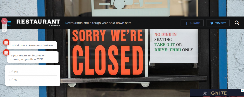 Restaurants end a tough year on a down note