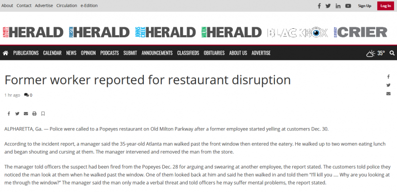 Former worker reported for restaurant disruption