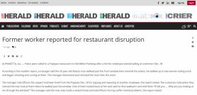 Former worker reported for restaurant disruption
