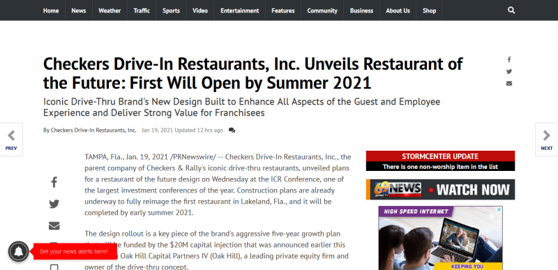 Checkers Drive-In Restaurants, Inc. Unveils Restaurant of the Future: First Will Open by Summer 2021