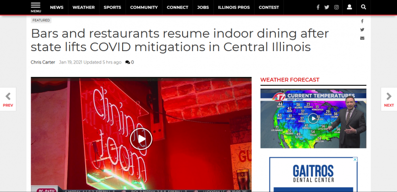 Bars and restaurants resume indoor dining after state lifts COVID mitigations in Central Illinois