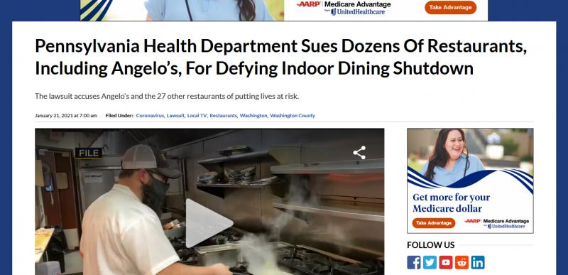 Pennsylvania Health Department Sues Dozens Of Restaurants, Including Angelo's, For Defying Indoor Dining Shutdown