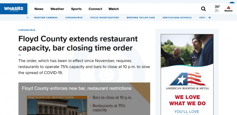 Floyd County extends restaurant capacity, bar closing time order