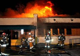 Closed restaurant building burns in Sun Valley