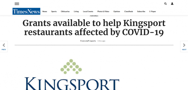 Grants available to help Kingsport restaurants affected by COVID-19