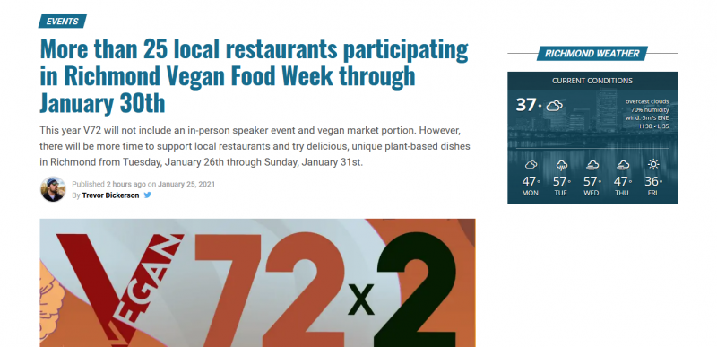 More than 25 local restaurants participating in Richmond Vegan Food Week through January 30th