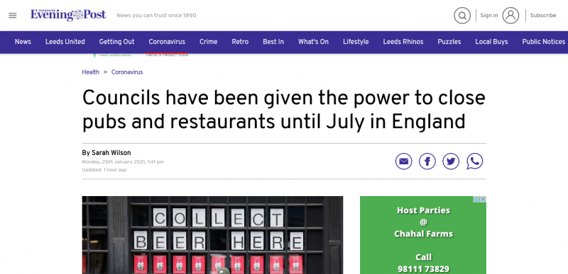 Councils have been given the power to close pubs and restaurants until July in England