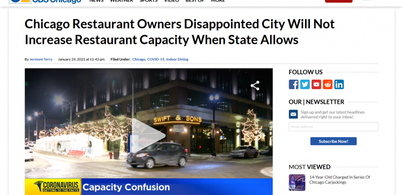 Chicago Restaurant Owners Disappointed City Will Not Increase Restaurant Capacity When State Allows