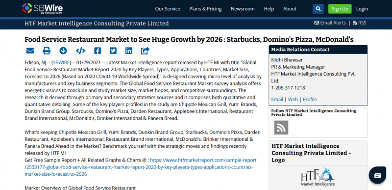 Food Service Restaurant Market to See Huge Growth by 2026   Starbucks, Domino's Pizza, McDonald's