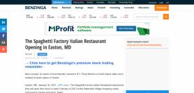 The Spaghetti Factory Italian Restaurant Opening in Easton, MD