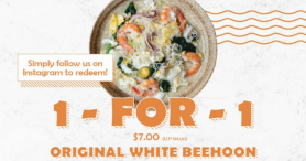 Enjoy 1-for-1 Original Sembawang White Beehoon at White Restaurant 三巴旺白米粉, Waterway Point from 2 to 4 Feb only!