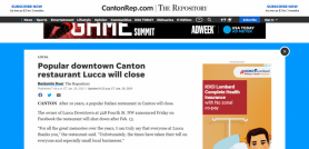 Popular downtown Canton restaurant Lucca will close