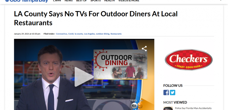 LA County Says No TVs For Outdoor Diners At Local Restaurants