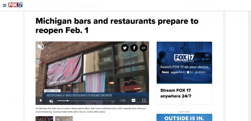 Michigan bars and restaurants prepare to reopen Feb. 1