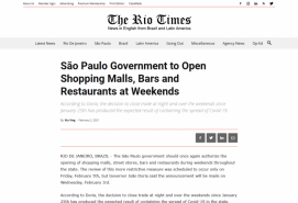 São Paulo Government to Open Shopping Malls, Bars and Restaurants at Weekends