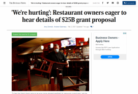 'We're hurting': Restaurant owners eager to hear details of $25B grant proposal