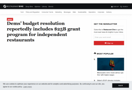 Dems' budget resolution reportedly includes $25B grant program for independent restaurants