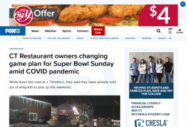 CT Restaurant owners changing game plan for Super Bowl Sunday amid COVID pandemic