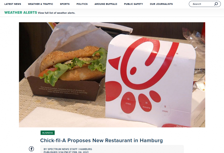 Chick-fil-A Proposes New Restaurant in Hamburg