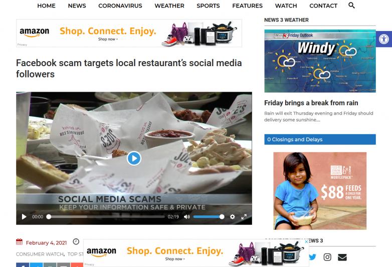 Facebook scam targets local restaurant's social media followers