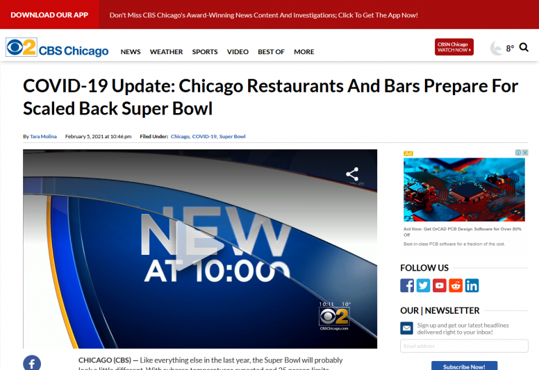 COVID-19 Update: Chicago Restaurants And Bars Prepare For Scaled Back Super Bowl