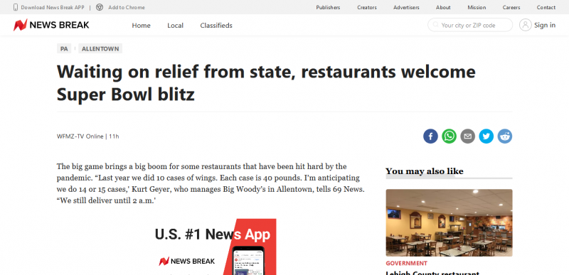 Waiting on relief from state, restaurants welcome Super Bowl blitz