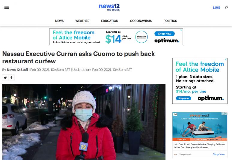 Nassau Executive Curran asks Cuomo to push back restaurant curfew
