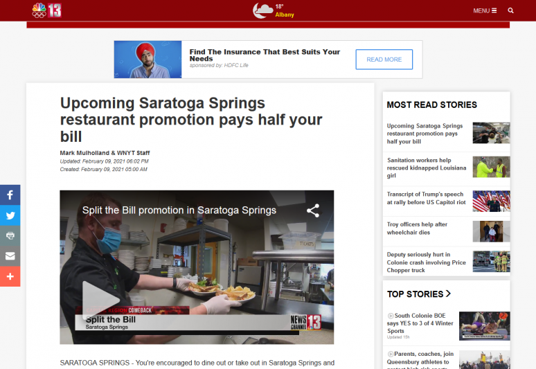 Upcoming Saratoga Springs restaurant promotion pays half your bill