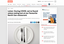 Letter: During COVID, we've found solace eating out at our favourite North Van restaurant