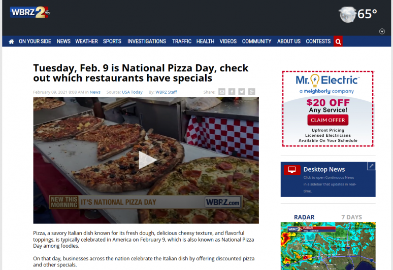 Tuesday, Feb. 9 is National Pizza Day, check out which restaurants have specials