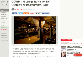 COVID-19: Judge Rules On NY Curfew For Restaurants, Bars