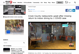 Crook County restaurants upset after missing return to indoor dining by 1 COVID case KTVZ