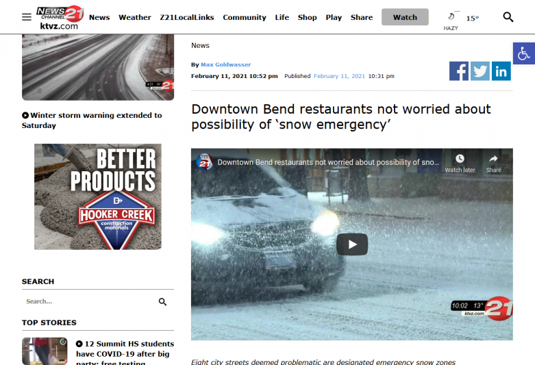 Downtown Bend restaurants not worried about possibility of 'snow emergency' KTVZ