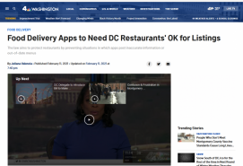 Food Delivery Apps to Need DC Restaurants' OK for Listings