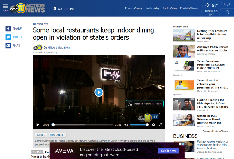 Some local restaurants keep indoor dining open in violation of state's orders
