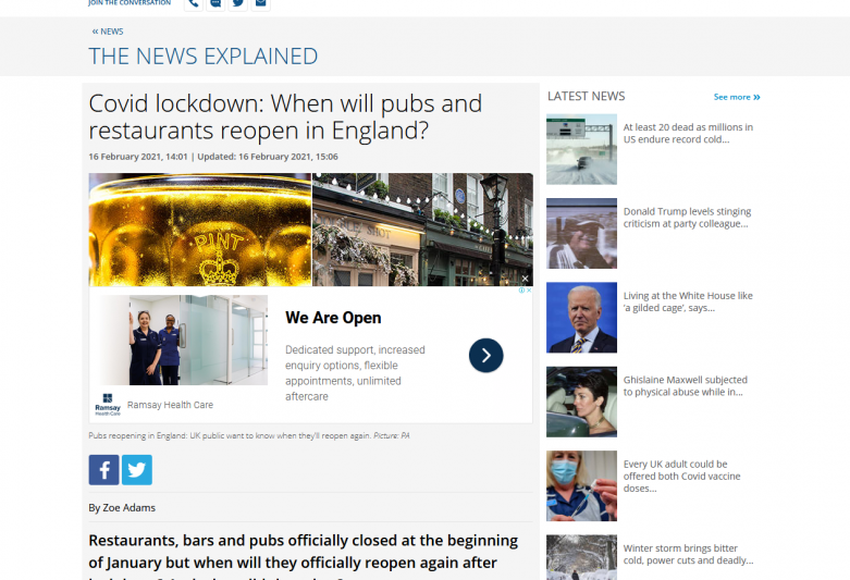 This is when pubs and restaurants could reopen as Boris Johnson set to announce lockdown roadmap