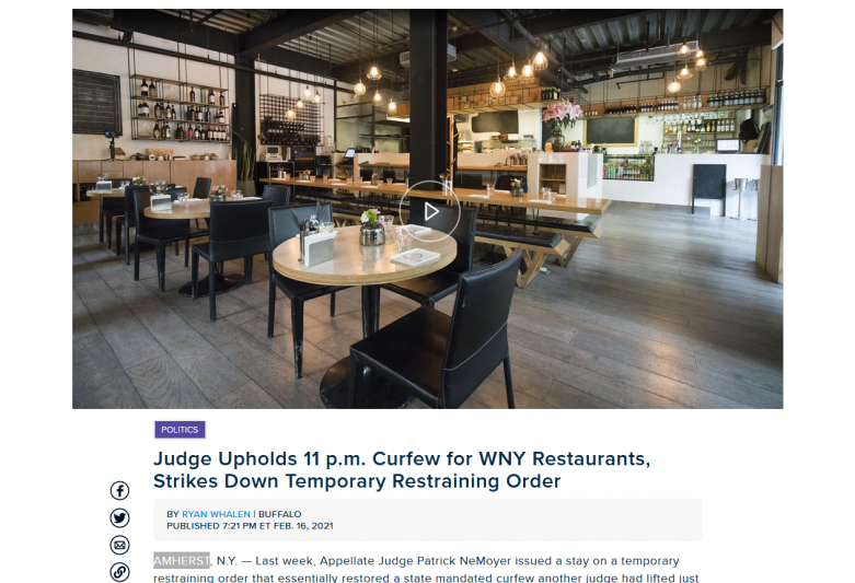 Judge Upholds 11 p.m. Restaurant Curfew, Strikes Down Restraining Order