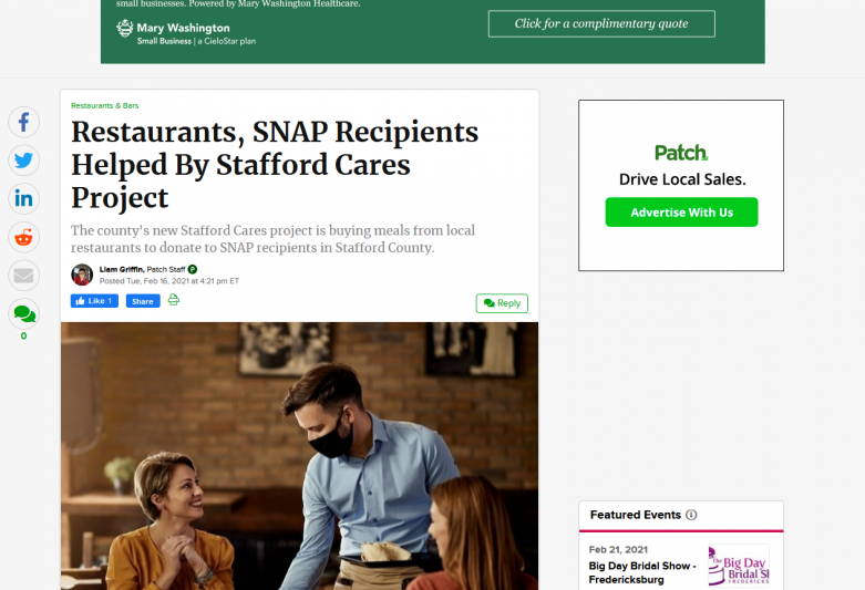 Restaurants, SNAP Recipients Helped By Stafford Cares Project