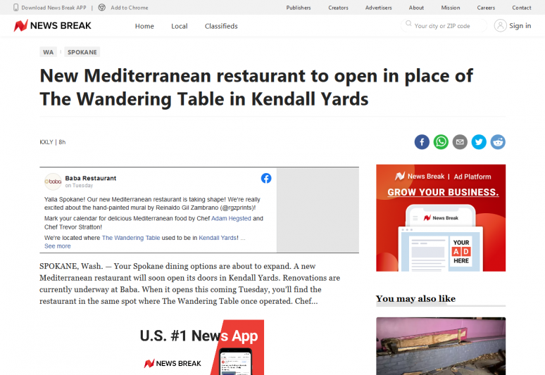 New Mediterranean restaurant to open in place of The Wandering Table in Kendall Yards
