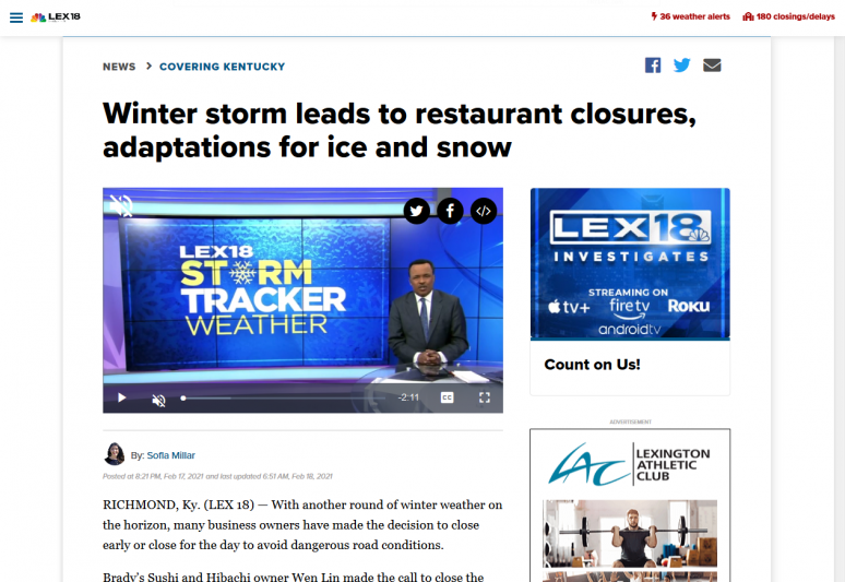 Winter storm leads to restaurant closures, adaptations for ice and snow