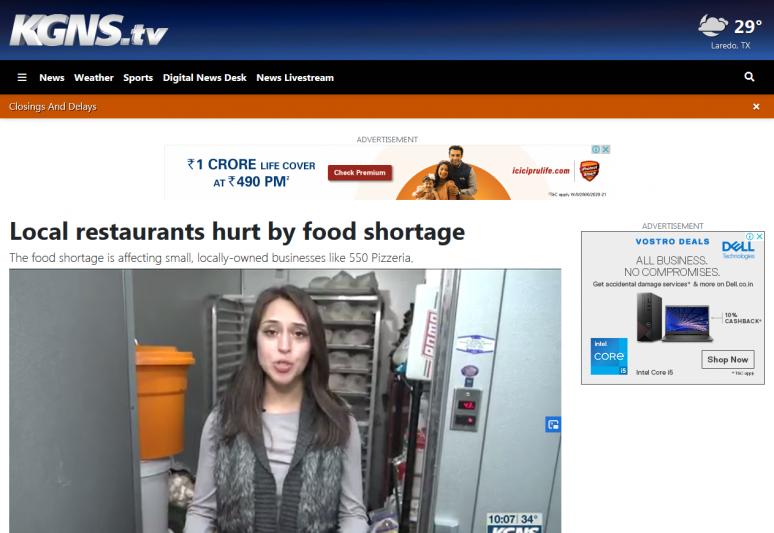 Local restaurants hurt by food shortage