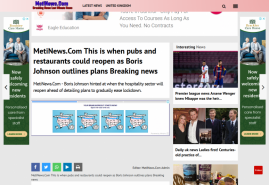 MetiNews.Com  This is when pubs and restaurants could reopen as Boris Johnson outlines plans Breaking news