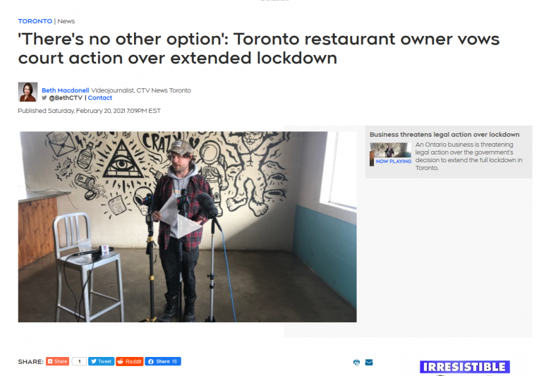 'There's no other option': Toronto restaurant owner vows court action over extended lockdown