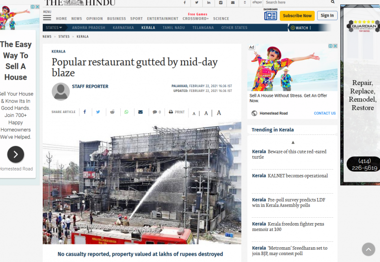 Popular restaurant gutted by mid-day blaze