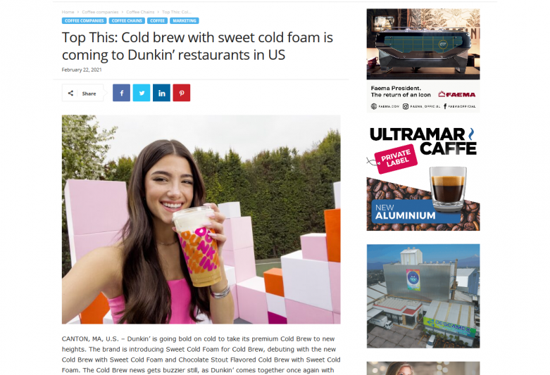 Top This: Cold brew with sweet cold foam is coming to Dunkin'