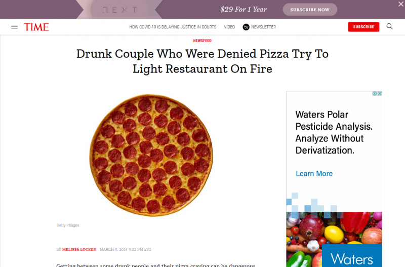 Drunk Couple Who Were Denied Pizza Try To Light Restaurant On Fire