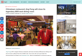 Chinatown restaurant Jing Fong will close its legendary 800-seat dining room